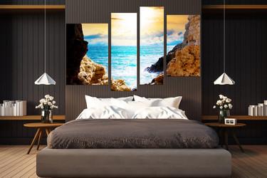 4 piece huge pictures, bedroom art, blue ocean large canvas, mountain wall art, sea canvas art prints