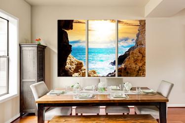 3 piece canvas wall art, dining room wall decor, blue ocean canvas print, mountain huge canvas art