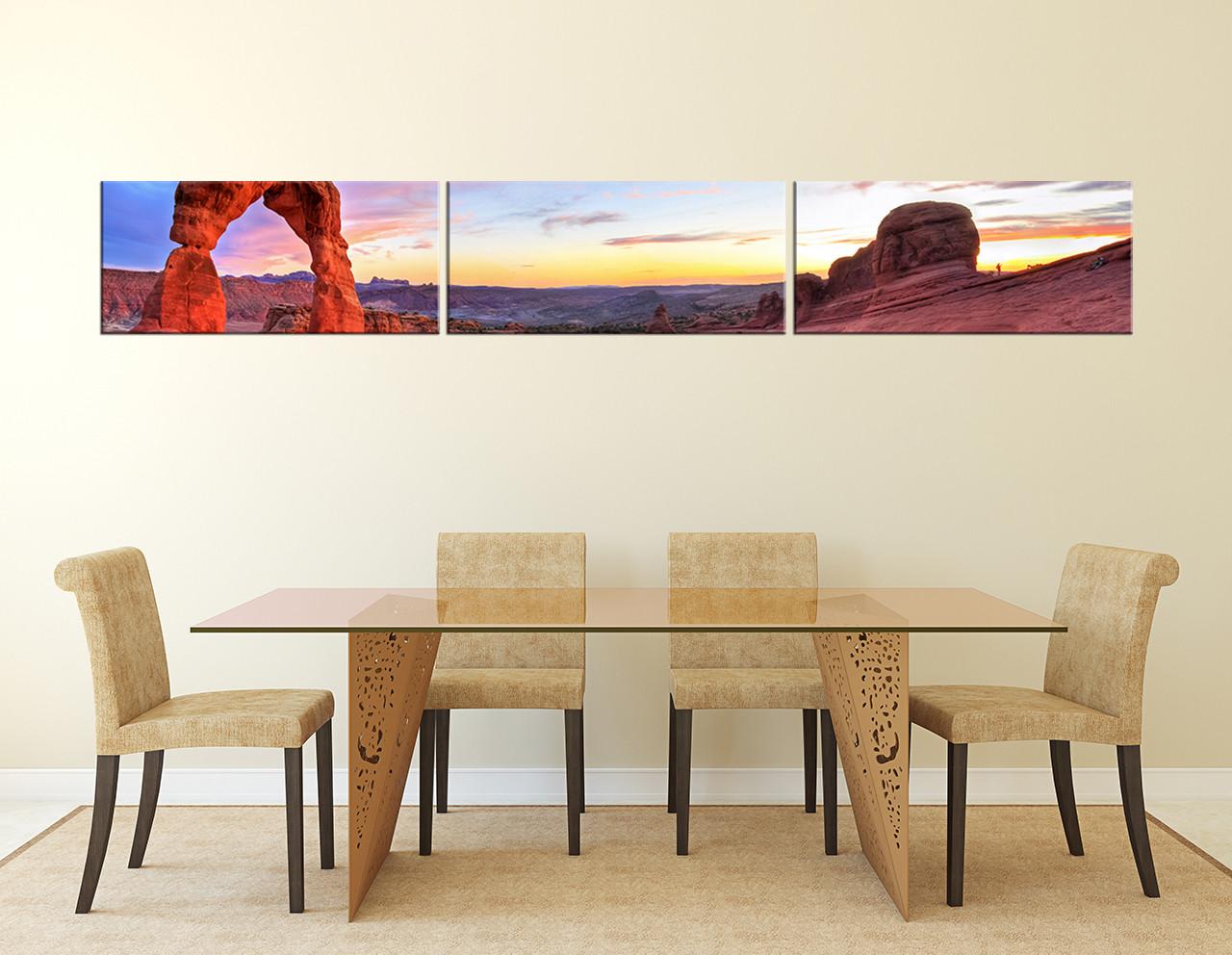 3 Piece Canvas Wall Art, Landscape Photo Canvas, Red Huge Canvas Art,  Mountain Canvas Art Prints, Panoramic Canvas Photography