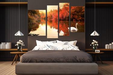 4 piece artwork, scenery wall decor, scenery multi panel canvas, swan photo canvas, scenery artwork