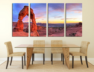4 piece wall decor, dining room large pictures, landscape artwork, red photo canvas, mountain multi panel canvas, sky huge canvas print