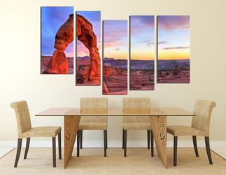 5 piece wall art, dining room group canvas, landscape art, red huge pictures, mountain multi panel canvas, sky huge canvas art