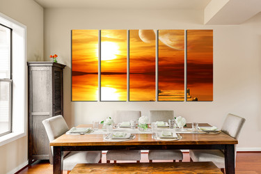 5 piece canvas photography, orange ocean canvas wall art, dining room huge pictures, sunset artwork