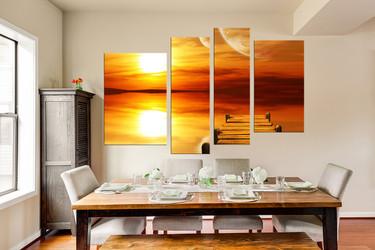 4 piece wall decor, orange ocean huge pictures, dining room photo canvas, sea artwork