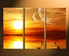 3 piece large pictures, home decor, orange ocean art, sunset group canvas