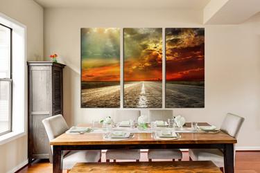 3 piece huge canvas print, dining room multi panel canvas, landscape photo canvas, scenery wall decor, orange canvas print, cloud canvas art prints