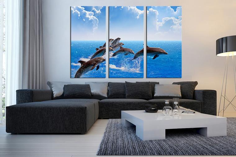 3 piece photo canvas, living room canvas wall art, blue sea canvas print, dolphin artwork, fish art