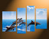 4 piece huge pictures, home decor, fish canvas wall art, wildlife large pictures, dolphin multi panel art