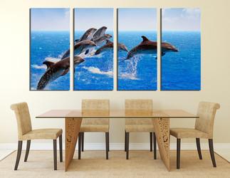 4 piece photo canvas, dining room canvas wall art, dolphin multi panel art, fish huge canvas art, wildlife artwork