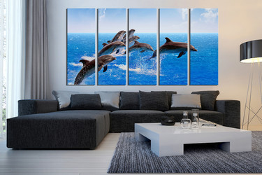 5 canvas wall art, living room multi panel canvas, dolphin canvas print, blue multi panel canvas, blue art