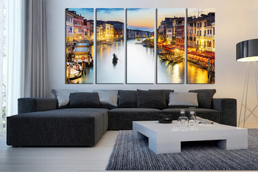 5 piece wall decor, living room multi panel canvas, gondola group canvas, city huge pictures, yellow city art