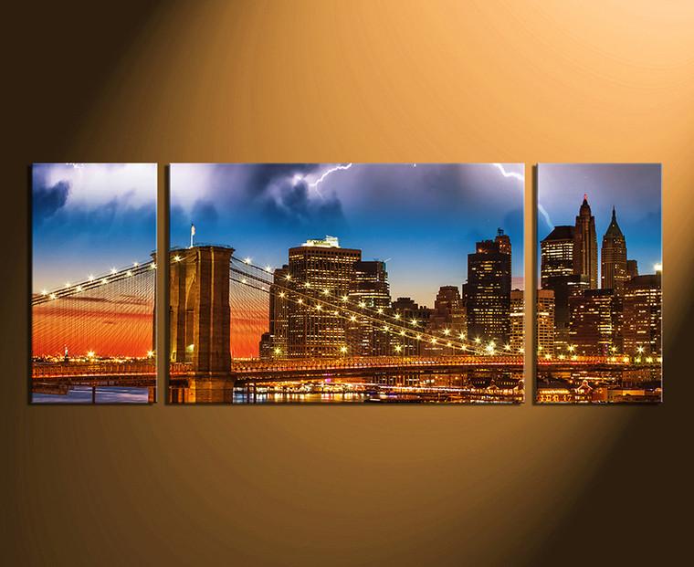 3 piece wall art, brown photo canvas, bridge home decor, blue city huge canvas art, city art