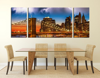 3 piece photo canvas, dining room group canvas, bridge large canvas, city wall decor, brown  city art