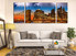 3 piece wall art, city canvas print, living room wall decor, brown city canvas print, city light artwork