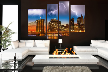 4 piece group canvas, living room room wall art, brown  photo canvas, city huge canvas print, city wall art