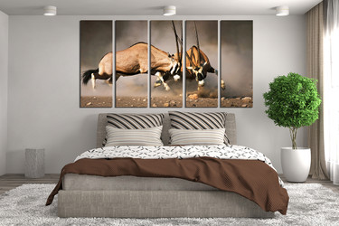 5 piece canvas wall art, bedroom huge canvas print, wildlife large pictures, animal wall decor