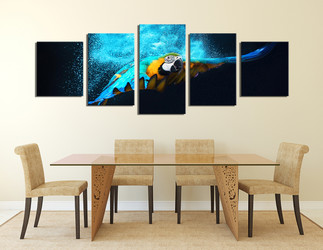 5 piece canvas wall art, blue bird group canvas, parrot canvas photography, blue bird photo canvas, bird artwork