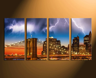 4 piece wall art, thunderstorm large pictures, city home decor, brown huge canvas, city light wall art
