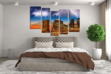 5 piece canvas photography, bedroom multi panel art, thunderstorm canvas print, brown wall art, city bridge wall decor