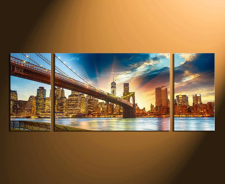 3 piece canvas photography, bridge canvas art prints, city home decor, brown home decor, city art