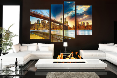 4 piece wall decor, living room group canvas, bridge canvas photography, city canvas print, brown large pictures