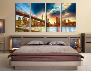 4 piece group canvas, bedroom canvas wall art, city large canvas, brown canvas art prints