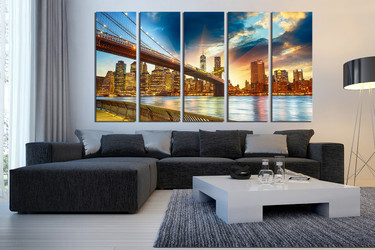 5 piece canvas wall art, living room wall decor, city large canvas, city light canvas photography, city multi panel canvas