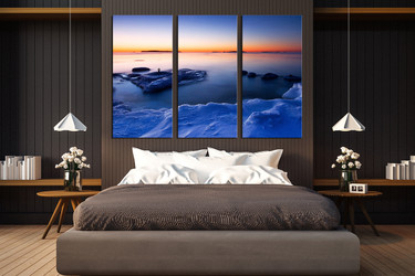 3 piece wall art, blue ocean huge canvas art, bedroom huge canvas art, ice art