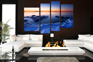 4 piece large pictures, blue sea artwork, ocean wall decor, living room photo canvas