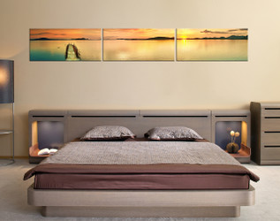 3 piece canvas photography, sunrise large canvas, bedroom huge canvas print, orange sea multi panel canvas