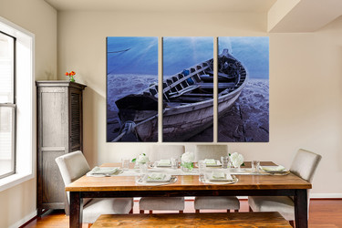 3 piece canvas wall art, blue ocean photo canvas, dining room large pictures, boat artwork