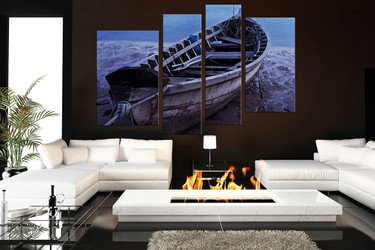 4 piece large canvas, boat wall decor, blue ocean canvas photography, living room multi panel canvas
