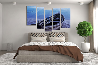 5 piece art, blue ocean canvas photography, boat wall decor, bedroom multi panel canvas