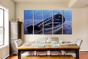 5 piece wall decor, blue sea group canvas, dining room canvas art prints, boat large pictures