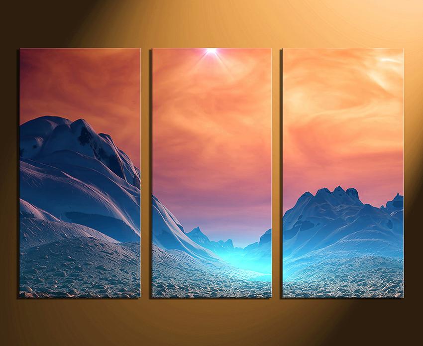 3 Piece Artwork, Landscape Canvas Wall Art, Scenery Large Pictures, Orange  Canvas Art Prints, Mountain Multi Panel Canvas