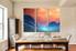 3 piece multi panel canvas, dining room group canvas, landscape huge canvas print, scenery art, orange wall decor, clouds artwork