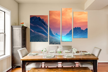 4 piece multi panel art, dining room canvas print, landscape large pictures, scenery wall decor, orange large canvas, clouds huge canvas art
