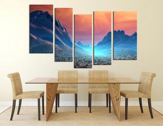 5 piece art, dining room canvas print, landscape wall decor, scenery canvas wall art, orange artwork, mountain large canvas