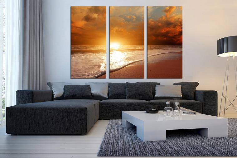 3 piece canvas photography, living room large pictures, sunrise huge canvas print, orange ocean multi panel art