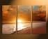 3 piece photo canvas, home decor, orange sea canvas wall art, sunrise group canvas, ocean art
