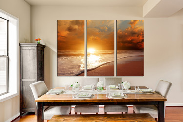 3 piece huge pictures, dining room wall art, orange ocean large canvas, sea canvas print
