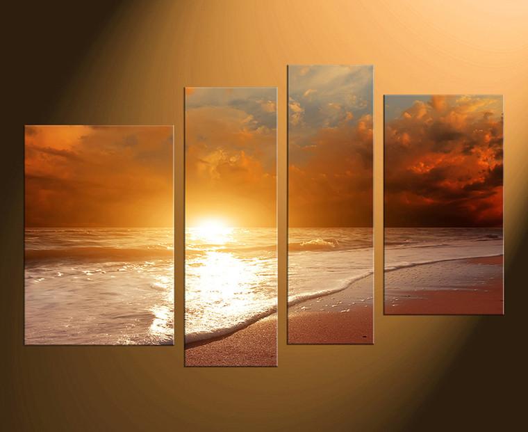 4 piece canvas print, orange sea large canvas, home decor, ocean huge pictures