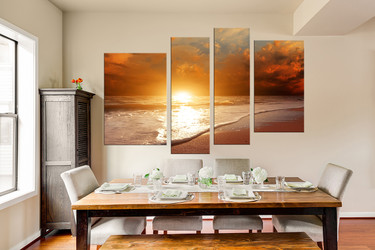 4 piece wall decor, sunrise canvas art prints, orange ocean canvas photography, dining room multi panel art