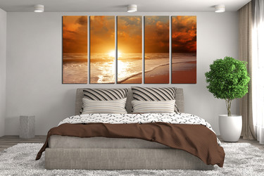 5 piece canvas photography, orange ocean multi panel art, bedroom large pictures, sea canvas print