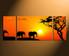 3 piece canvas print, home decor, orange scenery canvas wall art, elephant multi panel art, wildlife group canvas, panoramic animal artwork