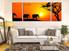 3 piece multi panel canvas, living room canvas photography, orange scenery artwork, elephant large pictures, animal art, wildlife group canvas