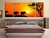 3 piece canvas wall art, bedroom multi panel canvas, animal photo canvas, wildlife large pictures, elephant panoramic decor