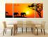 3 piece multi panel canvas, dining room huge canvas art, orange scenery artwork, animal large pictures, wildlife art