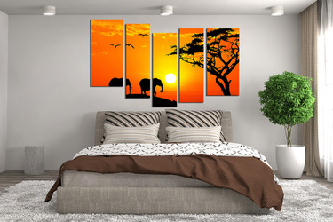 5 piece photo canvas, bedroom multi panel canvas, orange scenery artwork, wildlife group canvas, animal large pictures