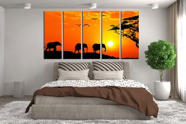 5 piece canvas wall art, bedroom huge canvas art, orange scenery canvas print, elephant multi panel canvas, wildlife group canvas